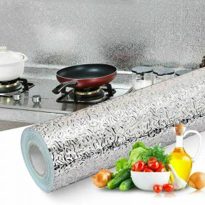 Self Adhesive Kitchen Wallpaper Waterproof Oil Proof Aluminum Foil Sticker 1 Roll