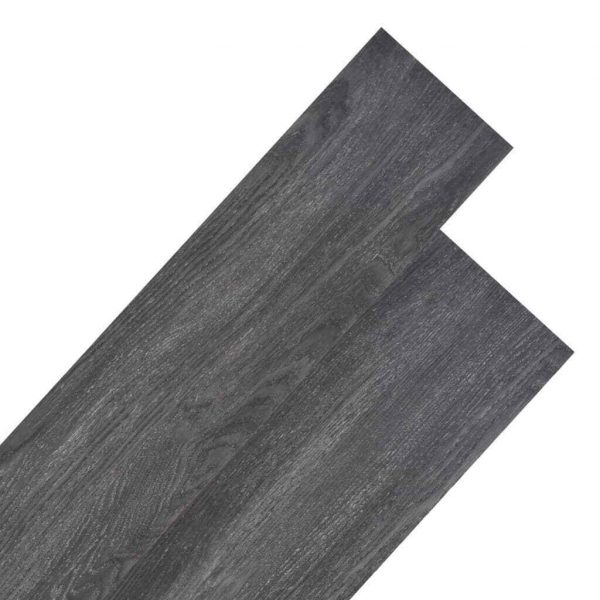 vidaXL PVC Flooring Planks 4.46m² 3mm Black Building Material Laminate Floor