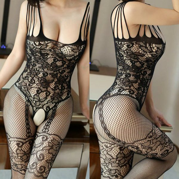 Black Mesh Lace Crotchless Lingerie Full Body Stocking Sexy Underwear