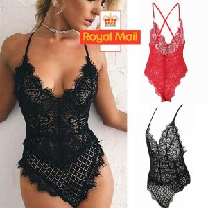 Women Nightgown Bodysuit Crotchlace Lingerie Set Sexy Underwear Nightwear