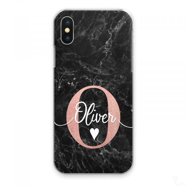 Personalised Marble Phone Cases, Custom Initial/Name Hard Cover For Huawei P/ Y Large Pink Initial Text White Heart on Black Marble Print