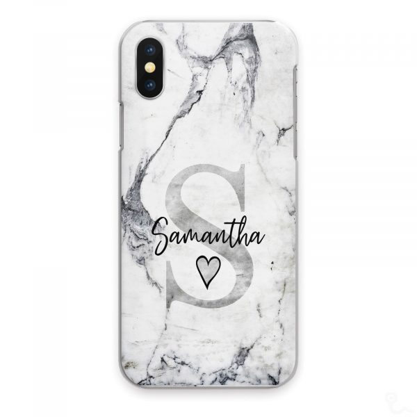 Personalised Marble Phone Cases, Custom Initial/Name Hard Cover For Huawei P/ Y Grey Initial Black Name on Grey and White Heart Marble Print