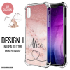 PERSONALISED MARBLE IPHONE COVER Pink Glitter Ombre INITIALS NAME MARBLE SHOCKPROOF CASE IPHONE 6 7 8 XR 11