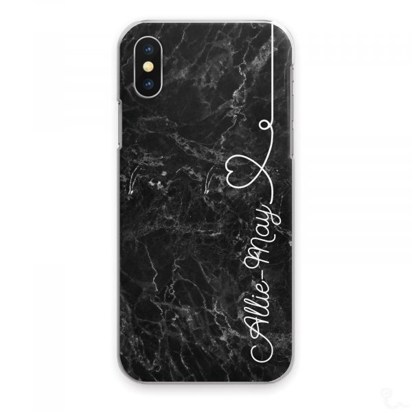 Personalised Marble Phone Cases, Custom Initial/Name Hard Cover For Huawei P/ Y White Side Name Heart on Black Marble Print