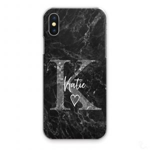 Personalised Marble Phone Cases, Custom Initial/Name Hard Cover For Huawei P/ Y - Grey Initial White Name Heart on Black Marble Print