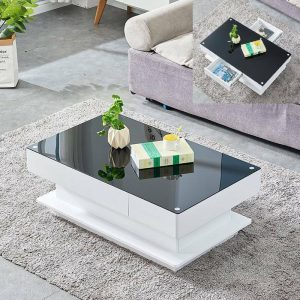 Glass Top White Black Coffee End Table with 2 Storage Drawers Livingroom Black White
