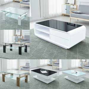Black Glass Top White Coffee Table High Gloss MDF 2 Storage Drawers Living Room Coffee Table