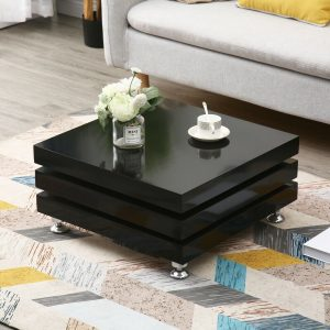 High Gloss Rotating Tea Coffee Table Living Room Layers Modern Furniture Lounge