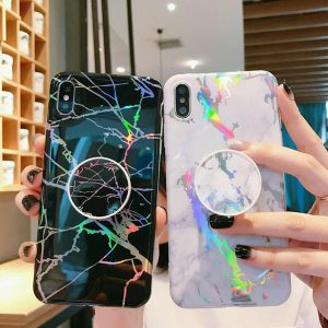 iPhone Marble Case Cover with Pop Up Socket For 11 Pro 7 Plus 8 6s X Phone Cover with Pop Up Socket