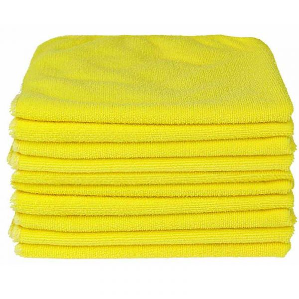 10 x LARGE YELLOW MICROFIBRE CLEANING CLOTH AUTO CAR DETAILING SOFT CLOTHS
