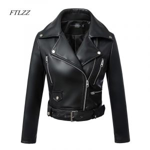 FTLZZ Women Winter Black Faux Leather Jackets Autumn Zipper Basic Coat Turn-down Collar Motor Biker Jacket With Belt