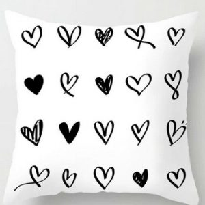 100% Polyester Black & White Love Cushion Covers Throws Pillowcase Pattern #16