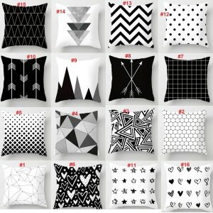 Black and White Pattern Cushion cover Pillowcases Cushion Throws 100% Polyester