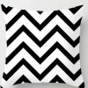 100% Polyester White Black Cushion Covers Throws Pillowcase Zigzag Pattern #13