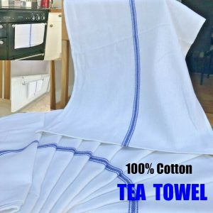 100% Cotton Catering Tea Towels Kitchen Restaurant Bar Glass Cloths Pack