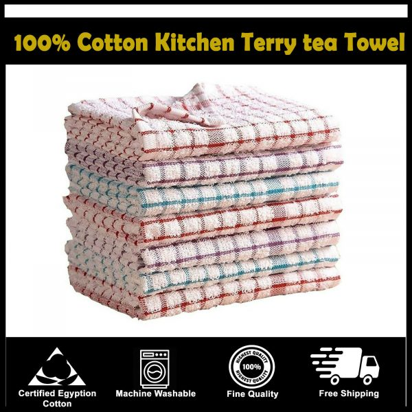 Packs of 15 Kitchen Terry Tea Towels Set 100% Cotton Dish Cloths Cleaning Drying