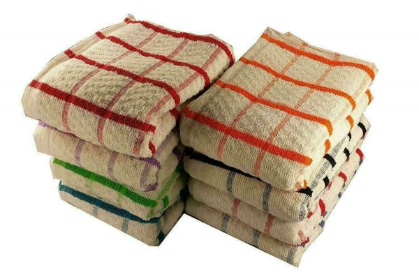 Kitchen Dish Cloth Single Checked Cleaning Clothe Jumbo XL Cotton Terry Tea Towels