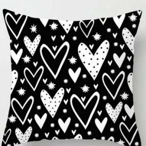 100% Polyester Black White Geometry Pillowcase Cushion Cover Throws Pattern #6