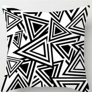 100% Geometry Decorative Black White Cushion Cover Pillowcase Throws Pattern #3