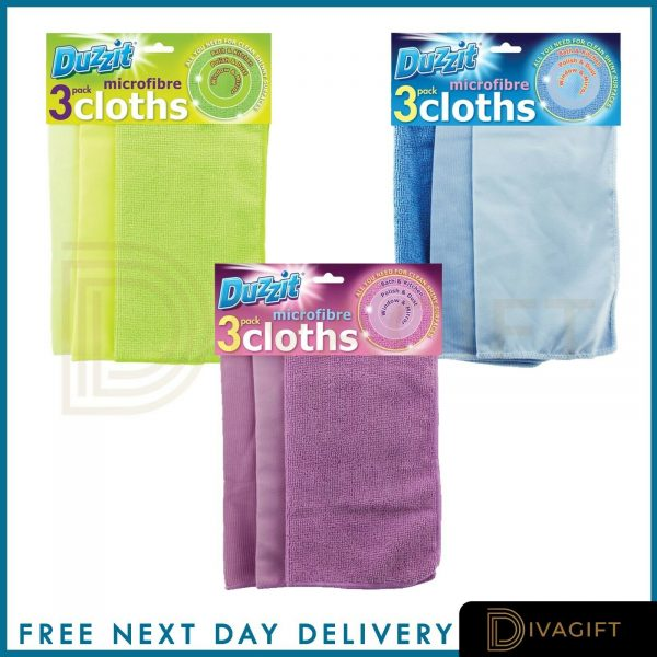 Microfibre Cleaning Cloths - Multi-Colours Glass Surfaces Floor Kitchen Bathroom