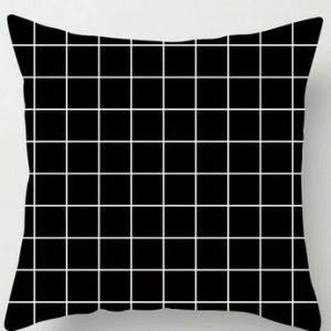 100% Polyester Square Black White Pillowcase Cushion Cover Throws Pattern #7