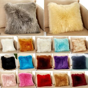 Luxury Soft Faux Fur Throw Pillow Case Fluffy Plush Sofa Cushion Cover or Pillow