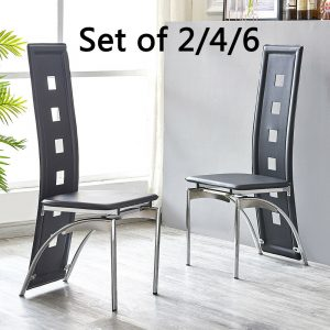 2 x High Back Faux Leather Dining Chairs Dining Room Metal Legs Set Black