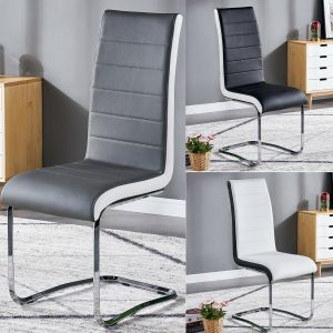 Side Dining Chairs High Back Faux Leather Furniture in Grey Black White Set of 2 4 6 8