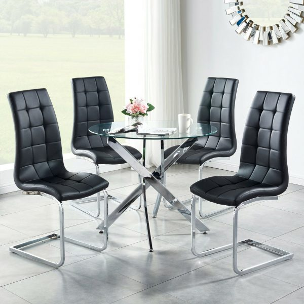Padded Seat Dining Chairs With Chrome Leg Home Living Room Kitche Furniture 2 4 6