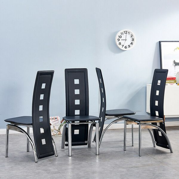 4x Faux Leather Dining Chairs Chrome Legs Black High Back Kitchen Dinning Room