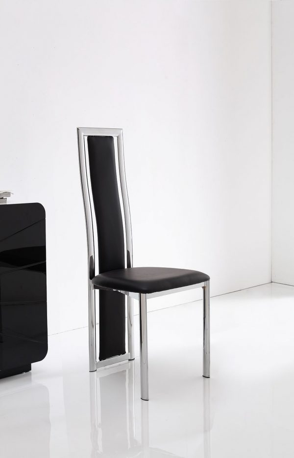 Elsa Faux Leather Black Dining Room Kitchen Chairs Furniture Chrome Metal Frame