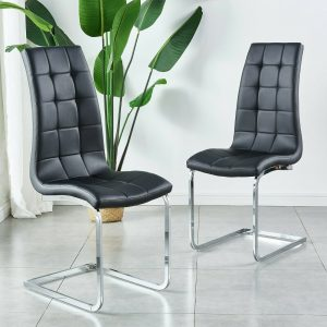 2 4 6 Dining Chairs Faux Leather High Back Chrome Leg Kicthen Living Room Grey
