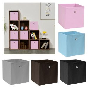 Pack of 2/4/6 Eyelet Collapsible Foldable Storage Cubes Boxes Home Organization Storage boxes