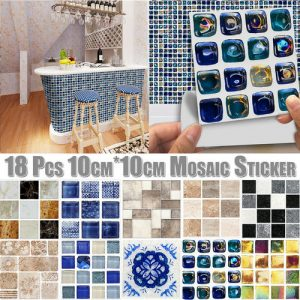 180pcs 3D Self Adhesive Wall Tiles UK Self-adhesive Kitchen Tile Stickers Bathroom Mosaic Sticker