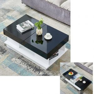 High Gloss / Tempered Glass Top Coffee Table w/ Storage Unit Modern Living Room