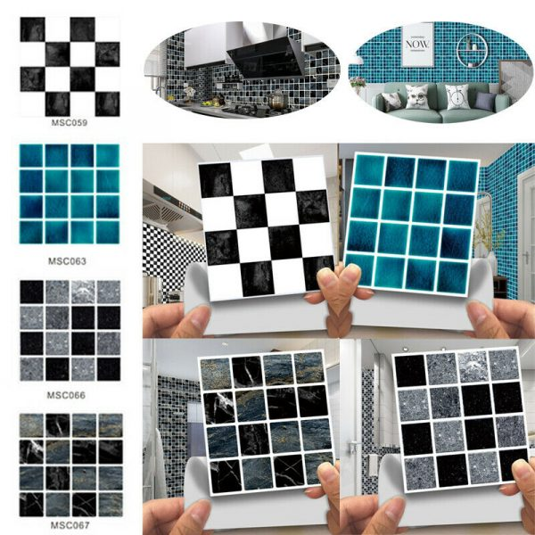 30X Kitchen Tile Stickers Bathroom Mosaic Sticker 3D Self-adhesive Wall Tiles